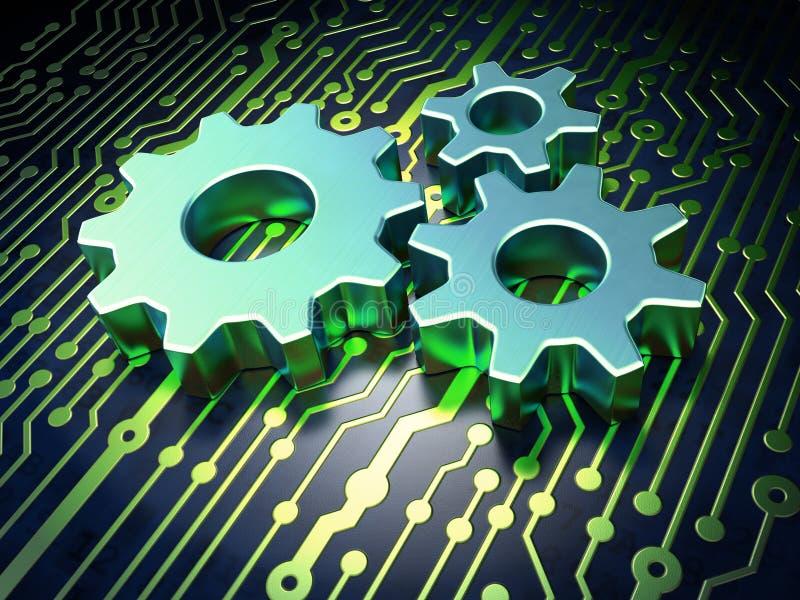 Conceito do desenvolvimento da Web: Engrenagens na placa de circuito ilustração royalty free