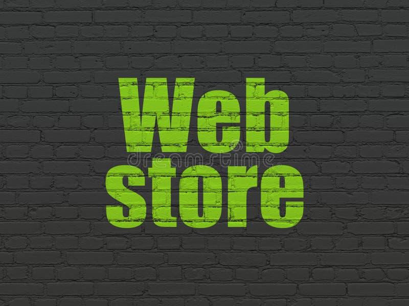Conceito do desenvolvimento da Web: Loja da Web no fundo da parede ilustração do vetor