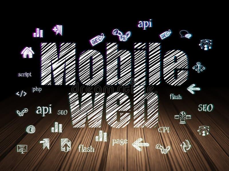 Conceito do desenvolvimento da Web: Web móvel na sala escura do grunge ilustração royalty free