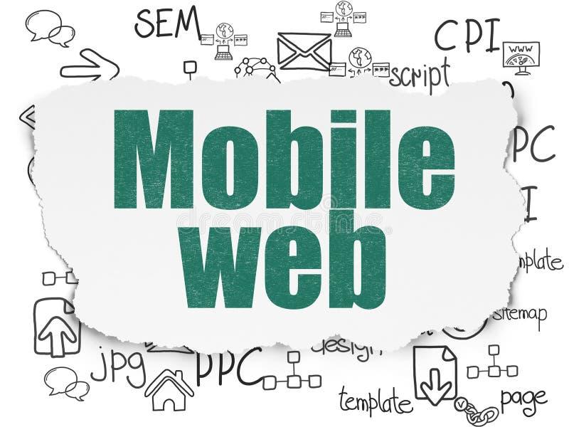 Conceito do desenvolvimento da Web: Web móvel no fundo de papel rasgado ilustração stock