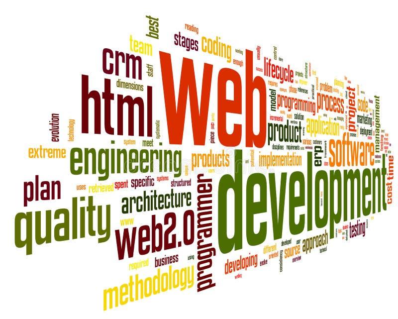Conceito do desenvolvimento da Web na nuvem do Tag da palavra ilustração royalty free