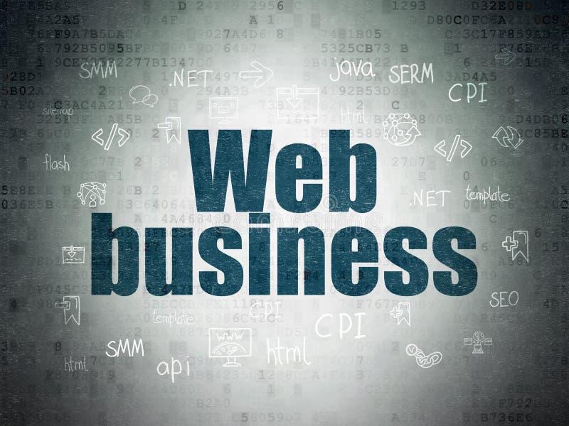 Conceito do desenvolvimento da Web: Negócio da Web no fundo do papel dos dados de Digitas ilustração stock