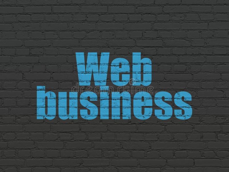 Conceito do desenvolvimento da Web: Negócio da Web no fundo da parede ilustração stock