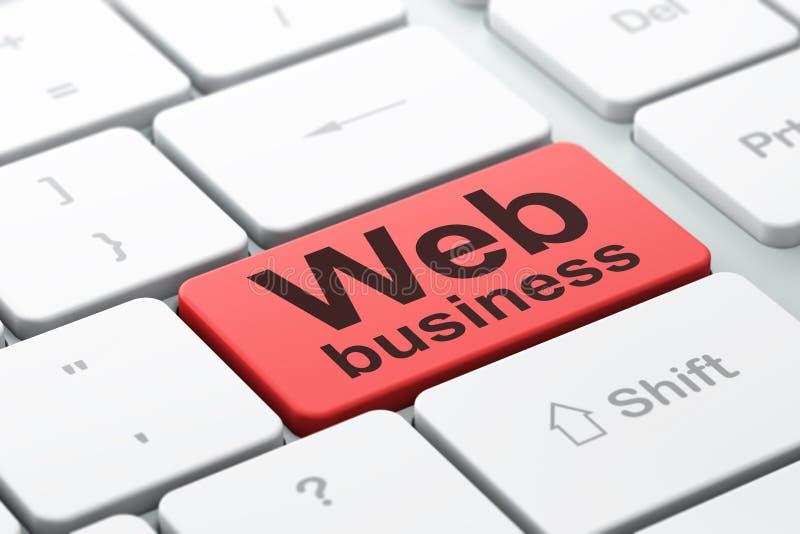 Conceito do desenvolvimento da Web: Negócio da Web no fundo do teclado de computador ilustração royalty free