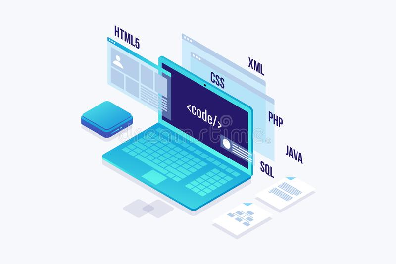 Conceito do desenvolvimento da Web, programando e codificando ilustração royalty free