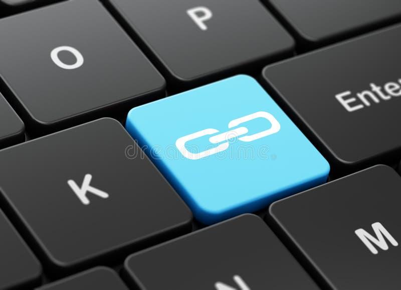 Conceito do desenvolvimento da Web: Relação no fundo do teclado de computador ilustração do vetor
