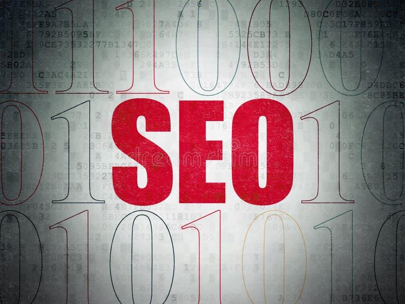 Conceito do desenvolvimento da Web: SEO no fundo do papel dos dados de Digitas ilustração royalty free