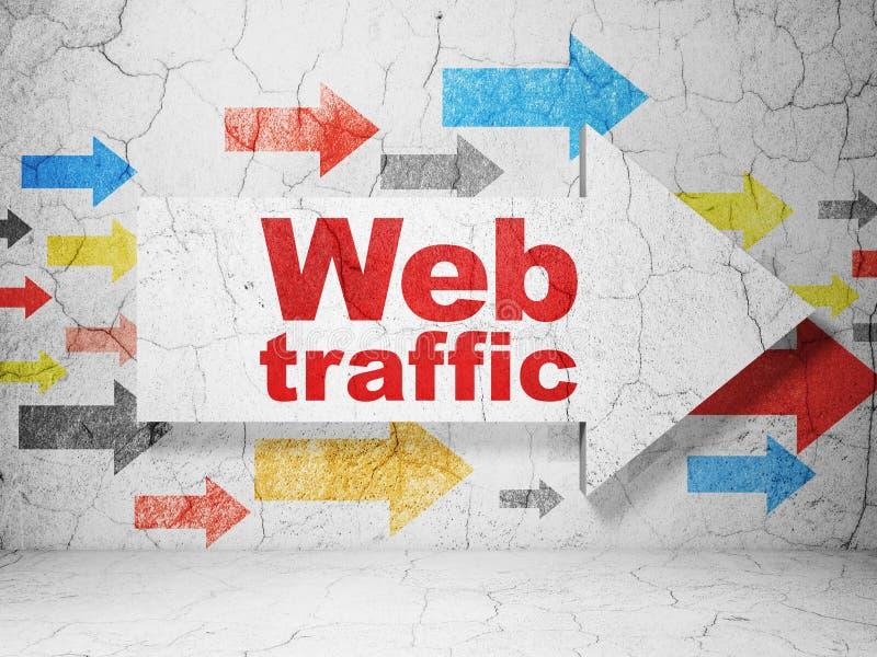 Conceito do desenvolvimento da Web: seta com tráfego da Web no fundo da parede do grunge ilustração stock