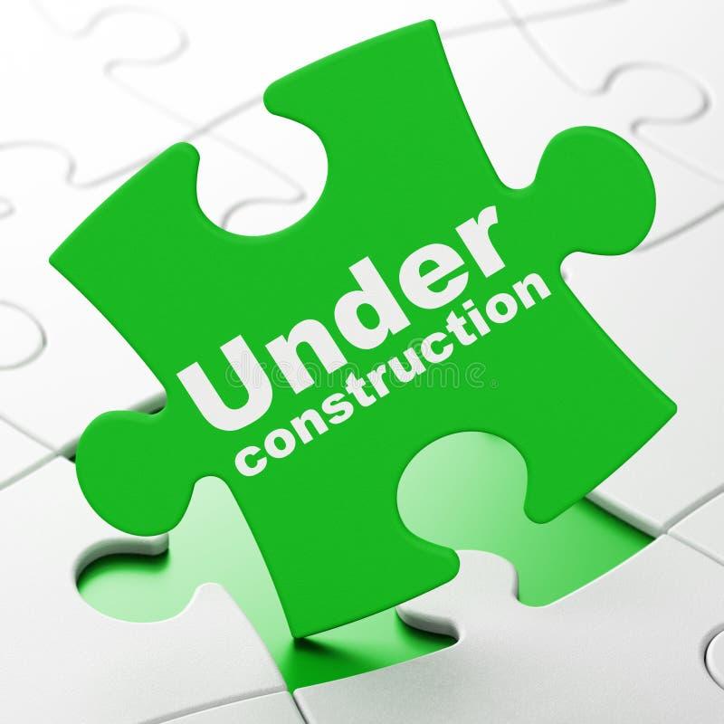 Conceito do desenvolvimento da Web: Sob a construção no fundo do enigma ilustração stock