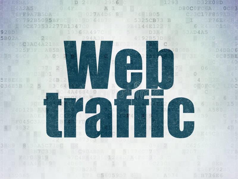 Conceito do desenvolvimento da Web: Tráfego da Web no fundo do papel dos dados de Digitas ilustração stock