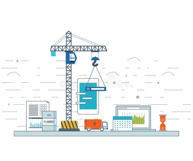Conceito do desenvolvimento de aplicações para o comércio eletrónico, aplicações móveis, bandeiras ilustração royalty free