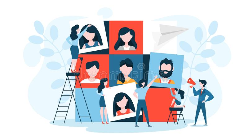 Conceito do desenvolvimento de equipas Recolhimento e trabalho do grupo de pessoas ilustração stock