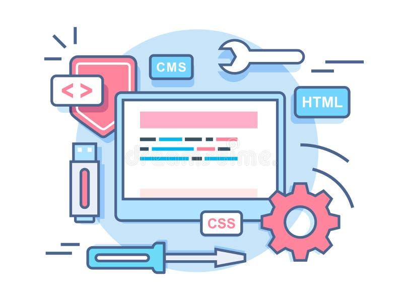 Conceito do desenvolvimento de programação da Web ilustração do vetor
