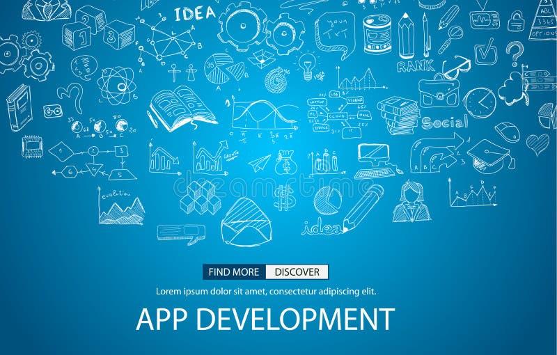 Conceito do desenvolvimento do App com estilo do projeto da garatuja ilustração stock