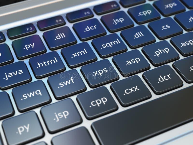 Conceito do desenvolvimento do design web, programação ou termnes de SEO em t ilustração stock