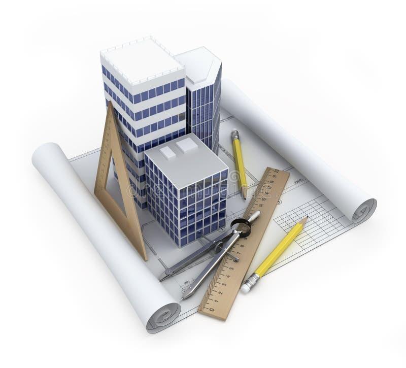 Conceito do desenvolvimento do edifício ilustração stock