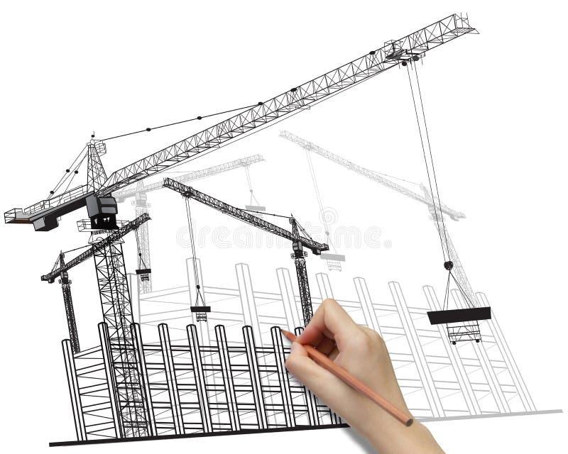Conceito do desenvolvimento do edifício do desenho da mão. ilustração stock