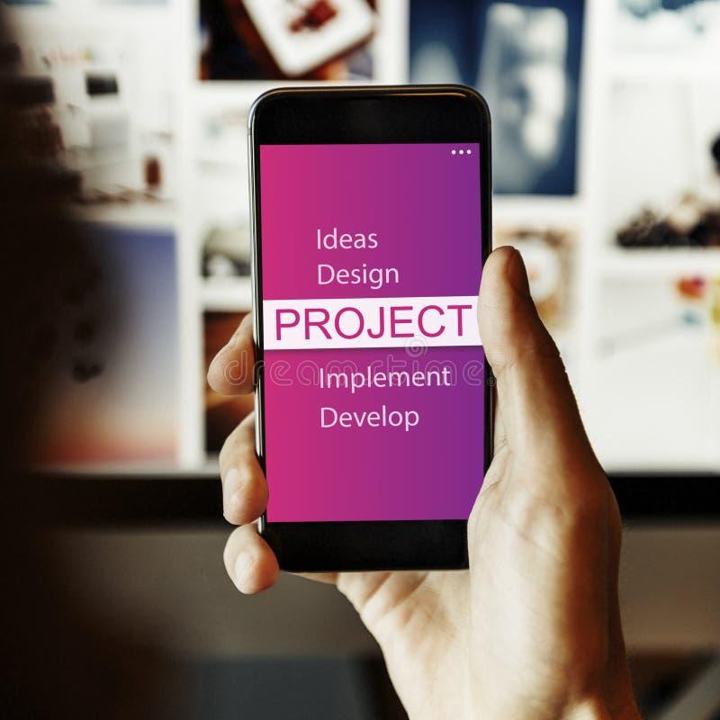 Conceito do desenvolvimento do implementar do projeto de projeto fotos de stock