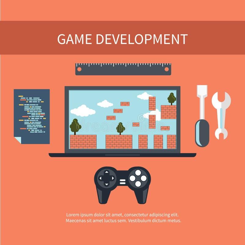 Conceito do desenvolvimento do jogo ilustração do vetor