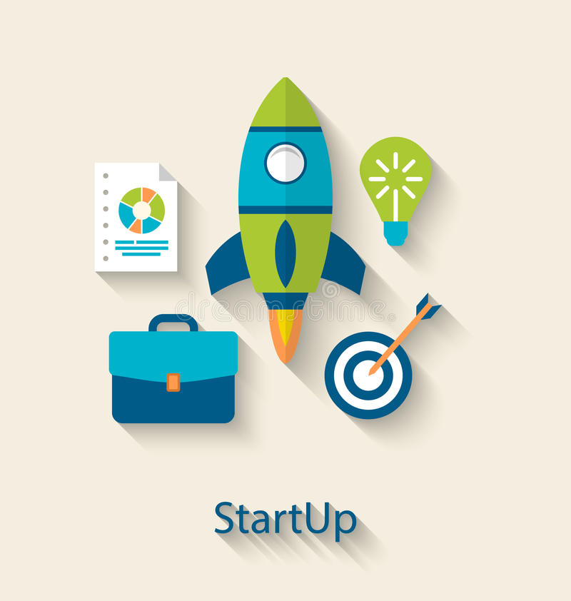 Conceito do desenvolvimento startup do projeto novo do negócio, ícones lisos ilustração royalty free