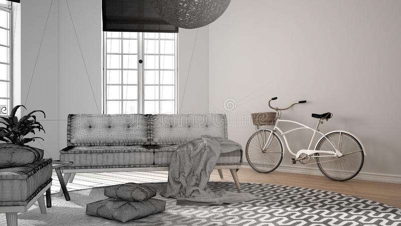 Conceito do designer de interiores do arquiteto: projeto inacabado que se transforma sala de visitas minimalista real, escandinav foto de stock