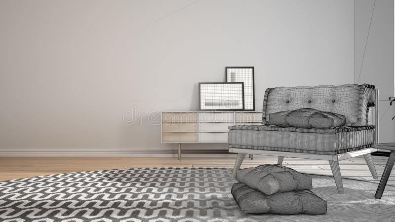 Conceito do designer de interiores do arquiteto: projeto inacabado que se transforma sala de visitas real, minimalista com tapete ilustração do vetor