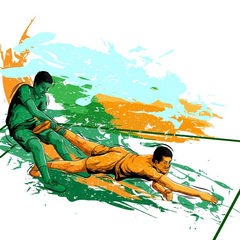 Conceito do desportista que joga Kabaddi ilustração royalty free