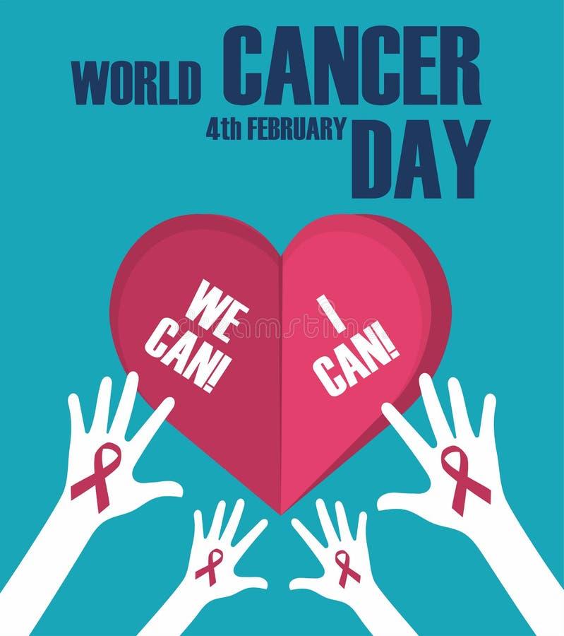 Conceito do dia do câncer do mundo Bandeira do dia do câncer do mundo, nós podemos mim podemos Ilustração do vetor ilustração stock