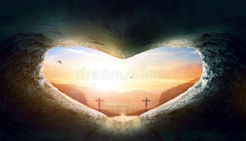 Conceito do dia do coração do mundo: sepultura vazia Coração-dada forma de Jesus Christ fotografia de stock