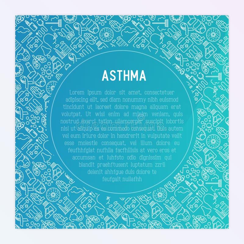 Conceito do dia da asma do mundo com linha fina ícones ilustração stock