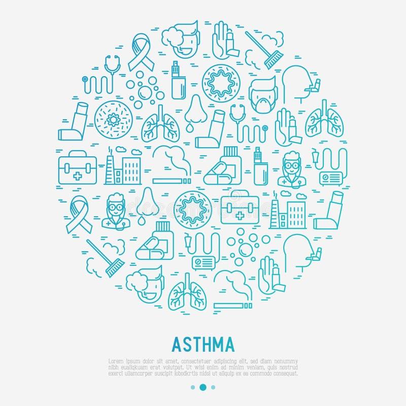 Conceito do dia da asma do mundo no círculo ilustração stock