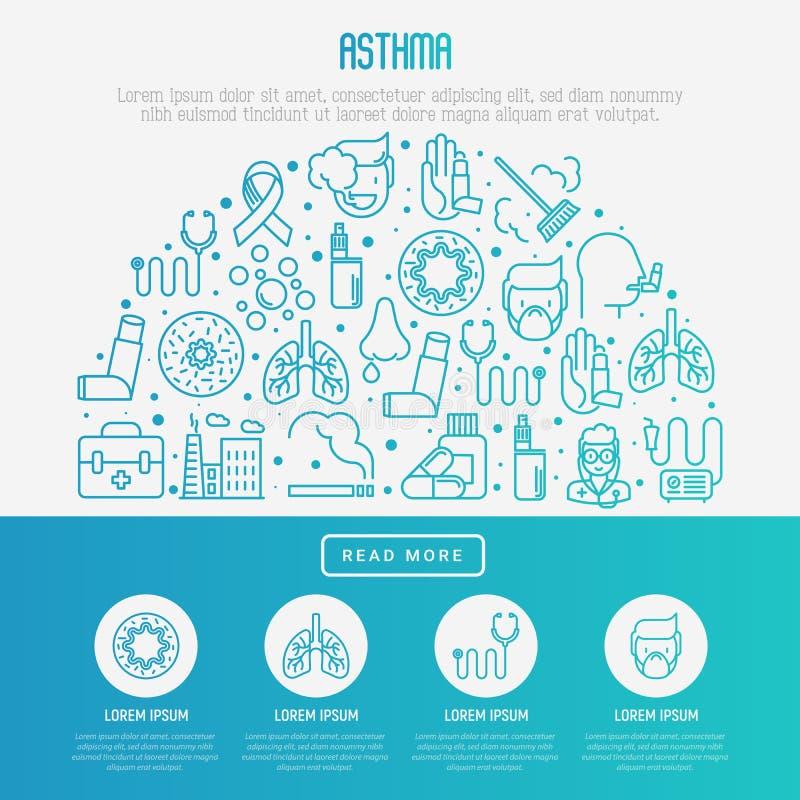 Conceito do dia da asma do mundo no meio círculo ilustração do vetor