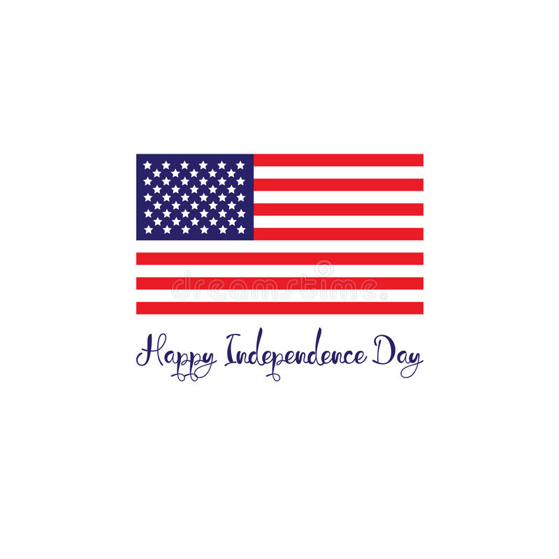Conceito do Dia da Independência do Estados Unidos da América Bandeira azul branca vermelha com rotulação das listras ilustração royalty free