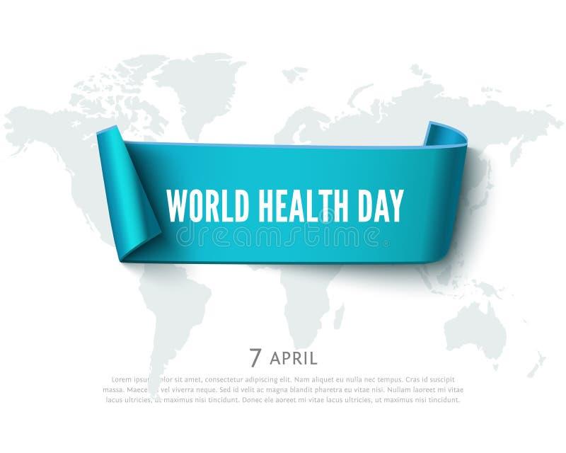 Conceito do dia da saúde com a bandeira da fita do papel verde, o mapa do mundo e o texto, fundo realístico do vetor ilustração stock