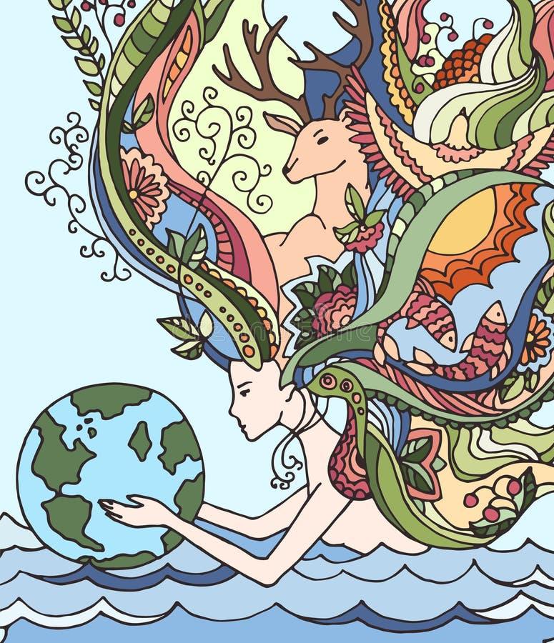 Conceito do Dia da Terra feliz, o 22 de abril, ecologia Ilustração do vetor dos desenhos animados Terra guardando humana ilustração stock