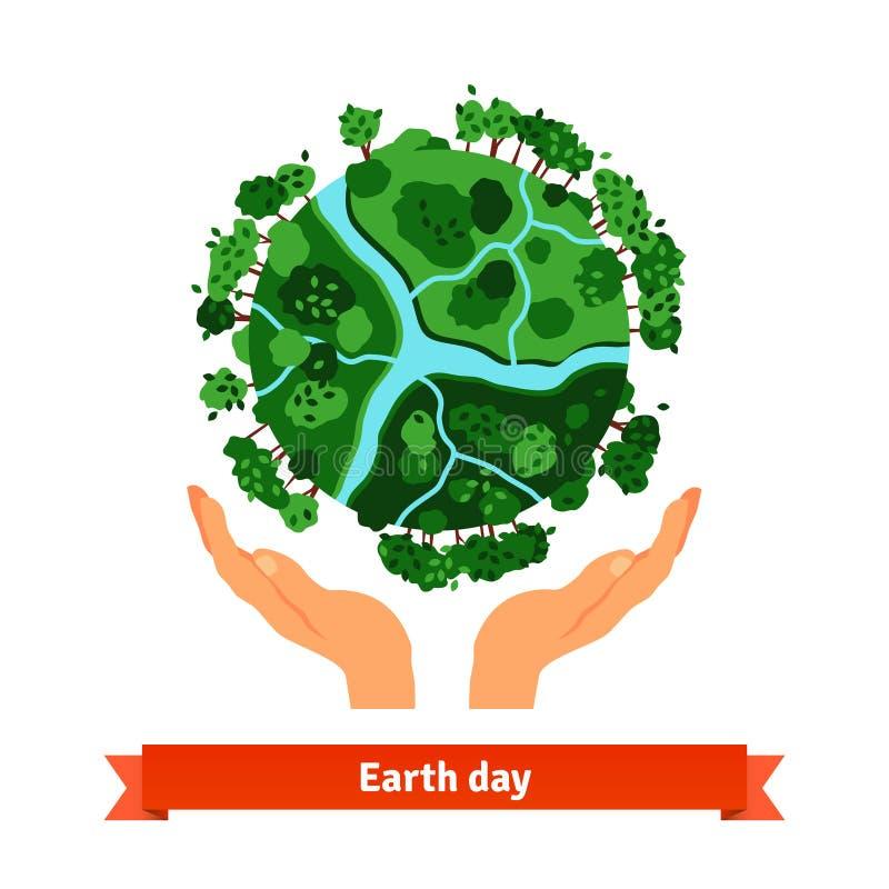 Conceito do Dia da Terra Mãos humanas que guardam o globo
