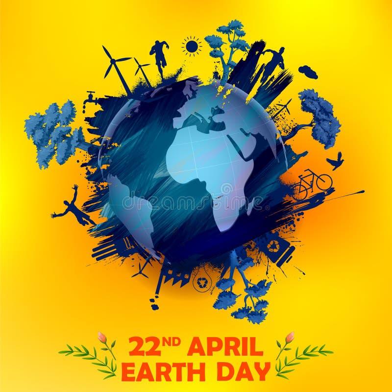 Conceito do Dia da Terra para o globo seguro e verde ilustração do vetor