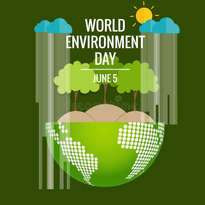 Conceito do dia de ambiente de mundo Terra verde de Eco Illustrat do vetor ilustração royalty free