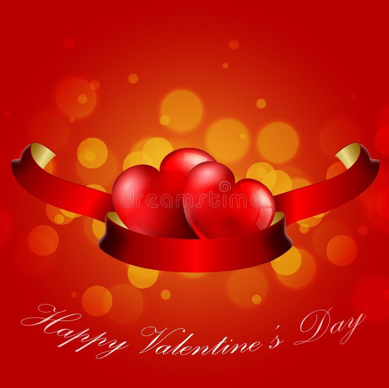 Conceito do dia de Valentim do coração com a fita vermelha realística no fundo vermelho ilustração royalty free