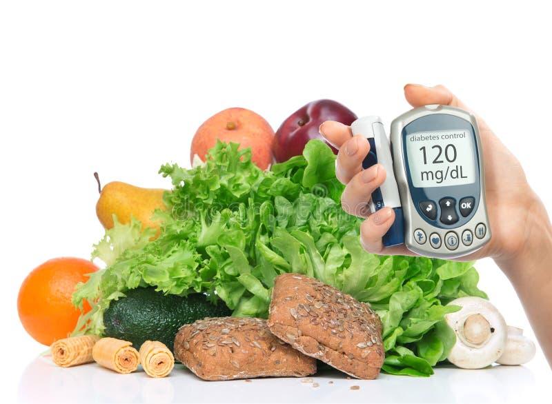 Conceito do diabético do diabetes Análise de sangue nivelada de medição da glicose sobre imagem de stock