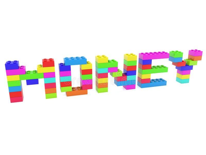 Conceito do dinheiro construído dos tijolos do brinquedo ilustração stock