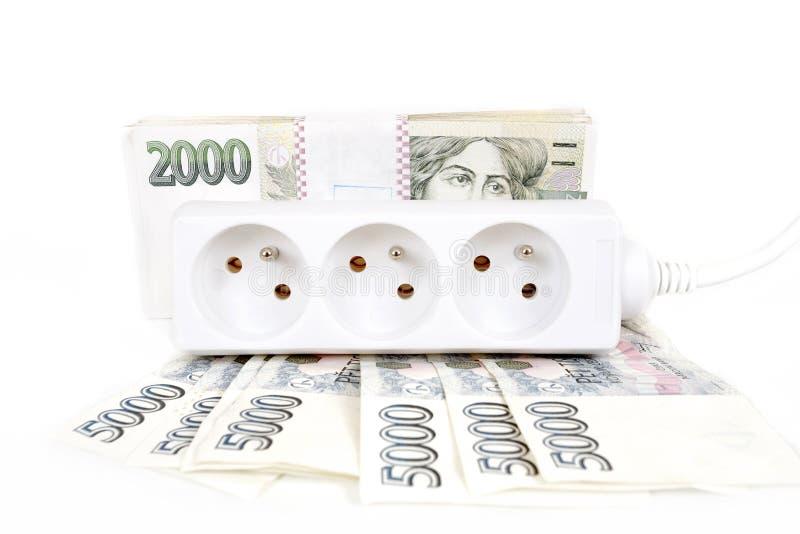 Conceito do dinheiro da conta de energia cara fotos de stock