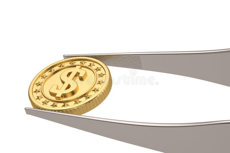 Conceito do dinheiro da moeda e da pinça de ouro isolado no fundo branco ilustra??o 3D ilustração royalty free