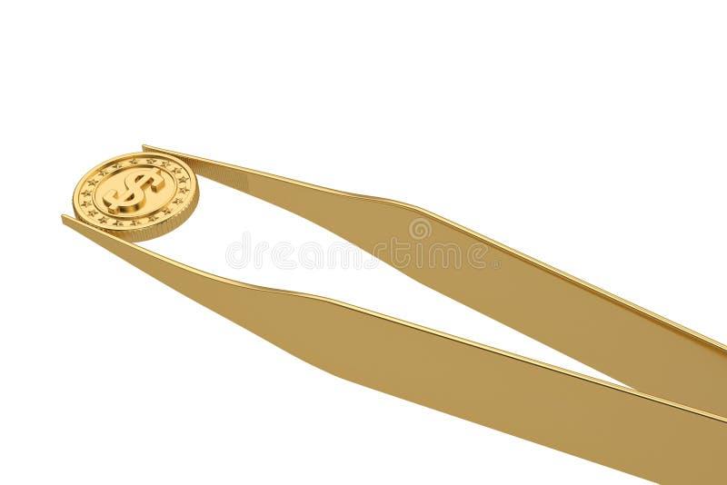 Conceito do dinheiro da moeda e da pinça de ouro isolado no fundo branco ilustra??o 3D ilustração stock