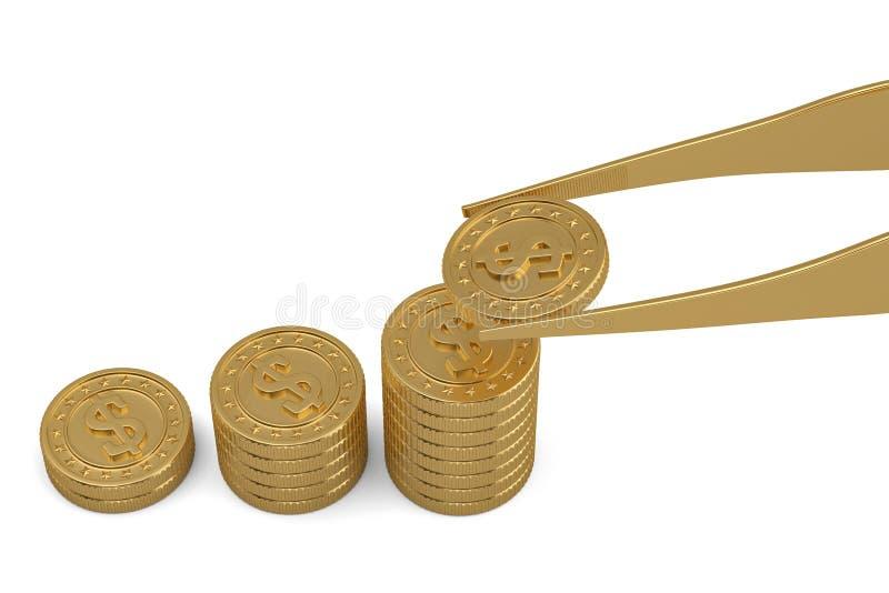 Conceito do dinheiro das moedas e da pinça de ouro isolado no fundo branco ilustra??o 3D ilustração do vetor