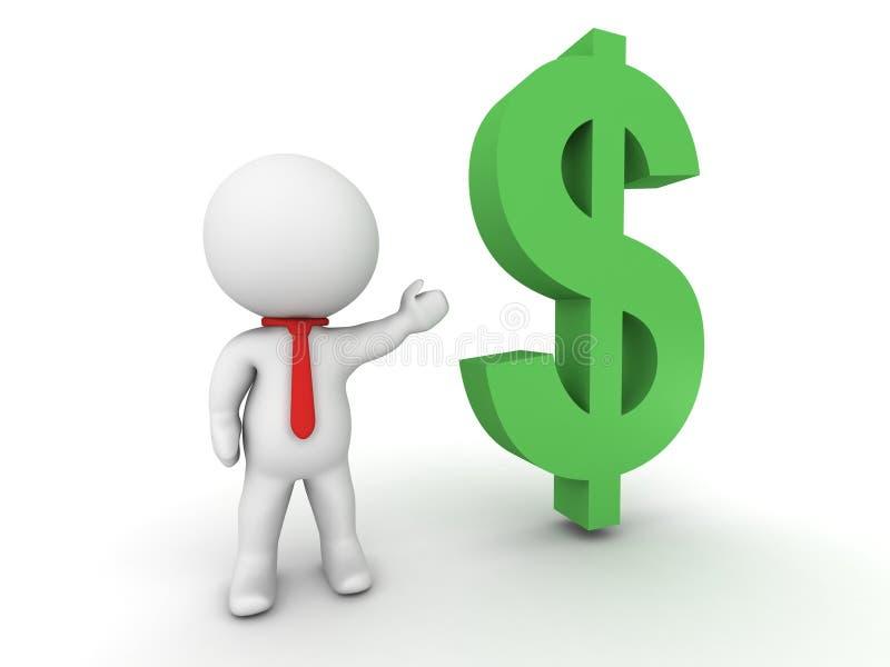 conceito do dinheiro de 3D Person Salesman Show Me The ilustração do vetor