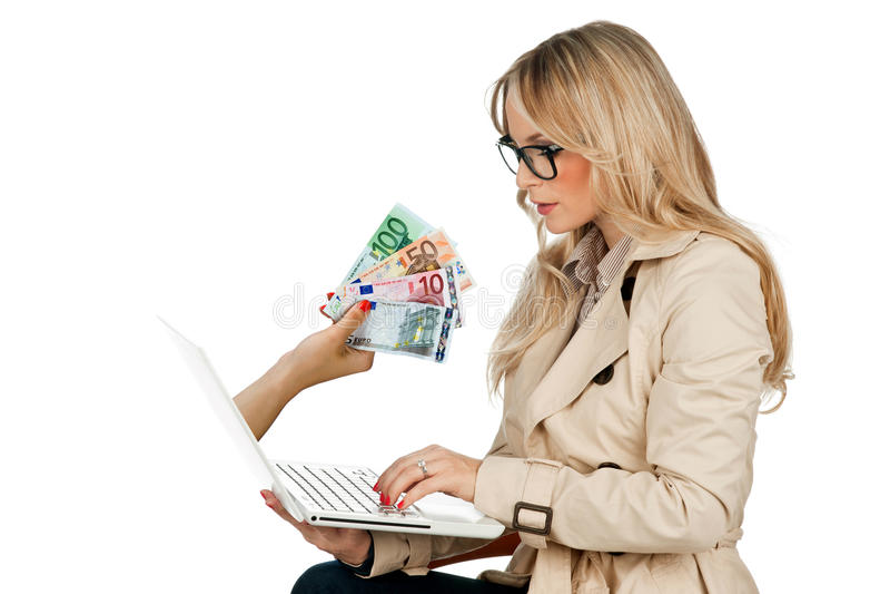 Conceito do dinheiro do Internet imagem de stock royalty free