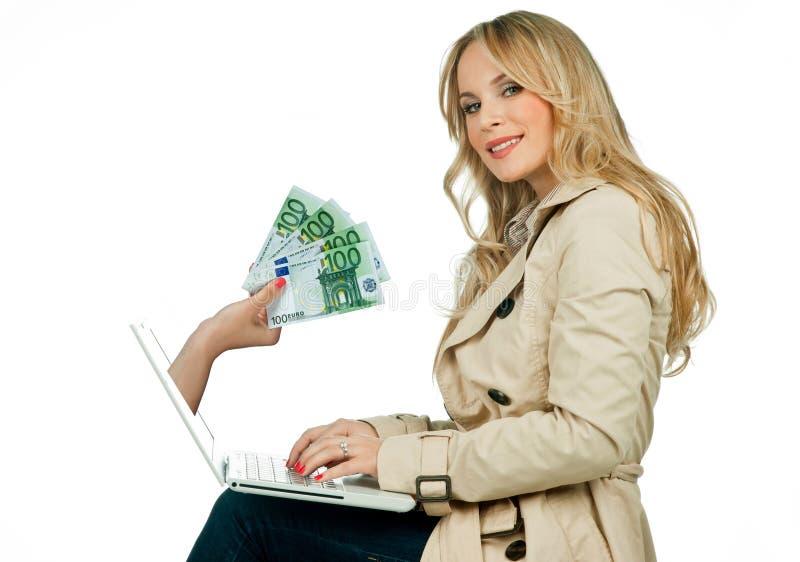 Conceito do dinheiro do Internet fotografia de stock royalty free