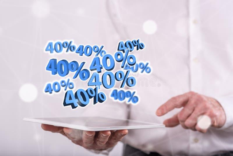 Conceito do disconto de 40% foto de stock royalty free