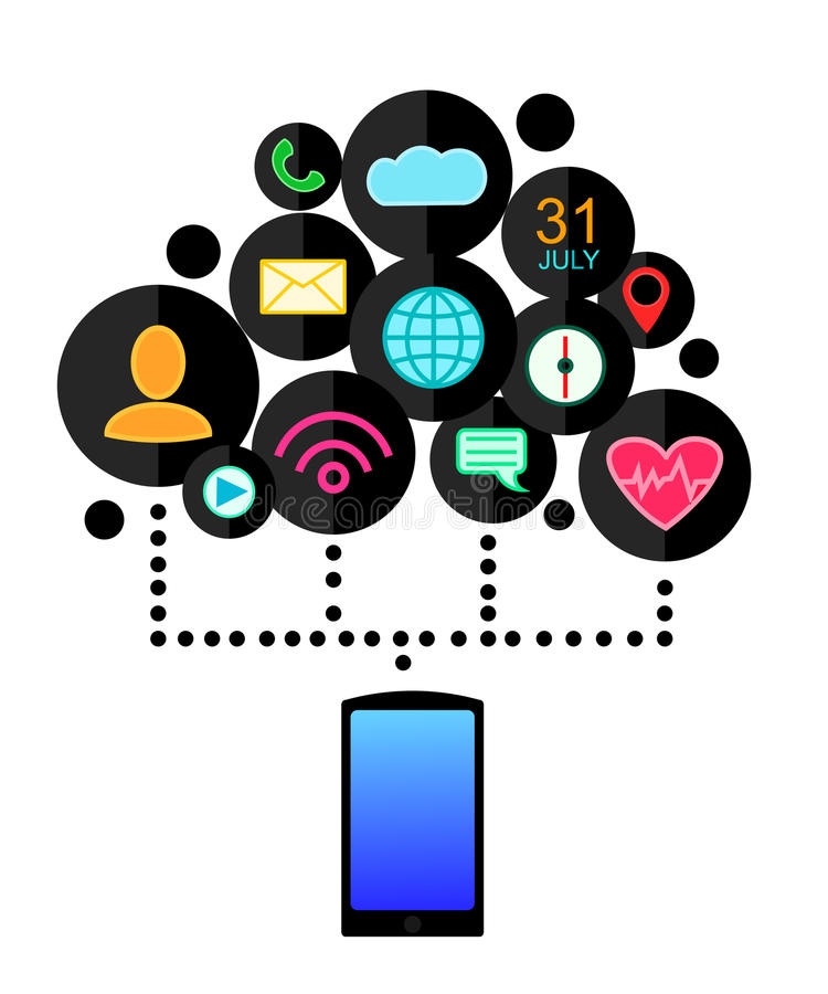 Conceito do dispositivo de Smartphone com ícones das aplicações (app) Projeto liso Ilustração do vetor ilustração royalty free